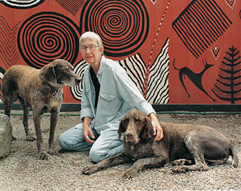 Meinrad Craighead and her dogs